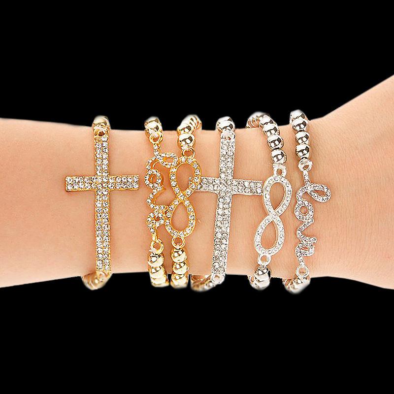 Hot Fashion Women's charm Bracelet Crystal Rhinestone Cross Love Infinity Stretch Golden Beaded bracelets & bangles Women - Ailsa Jewelry store