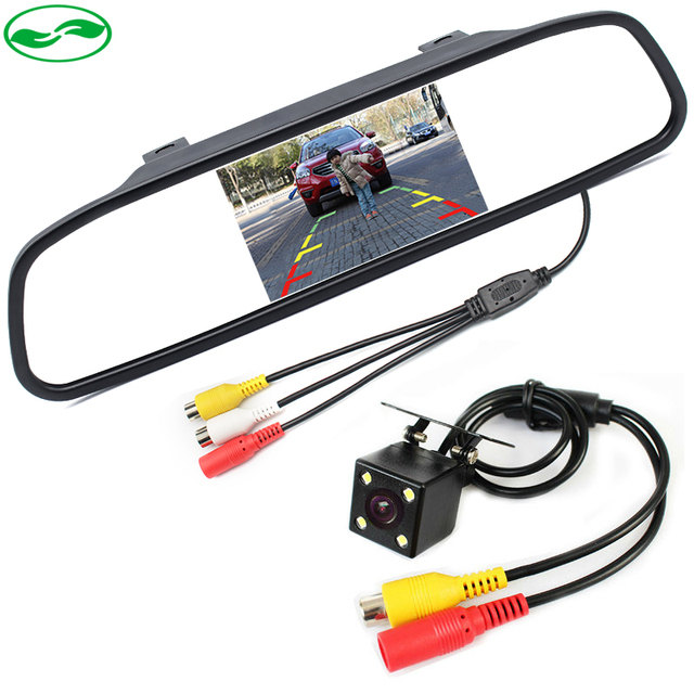 "2in1 3 Glass Lens LED Night Vision Reverse Backup CCD Rear View Camera + 4.3"" Car Parking Rearview Mirror Monitor With Camera"