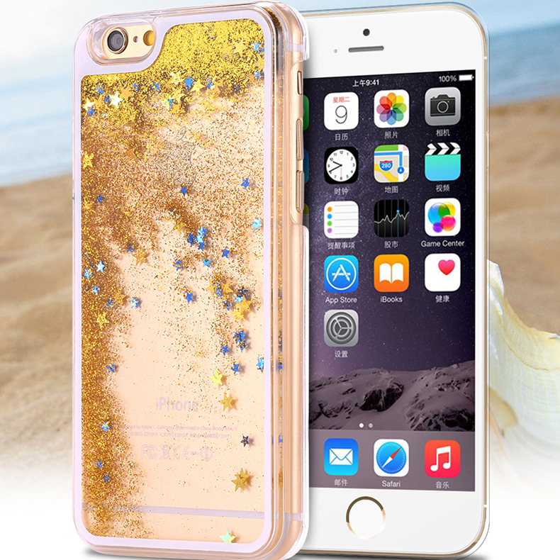Ultra Thin Clear Back Case For Apple iphone 6 Liquid Glitter Bling Star Quicksand Mobile Phone Cover Shell For iphone 6 Plus i 6(China (Mainland))
