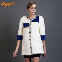 Factory direct supplier women's fashion 2015new winter fur 100%natural leather Integral skin Mink Coats Python leather stitching(China (Mainland))