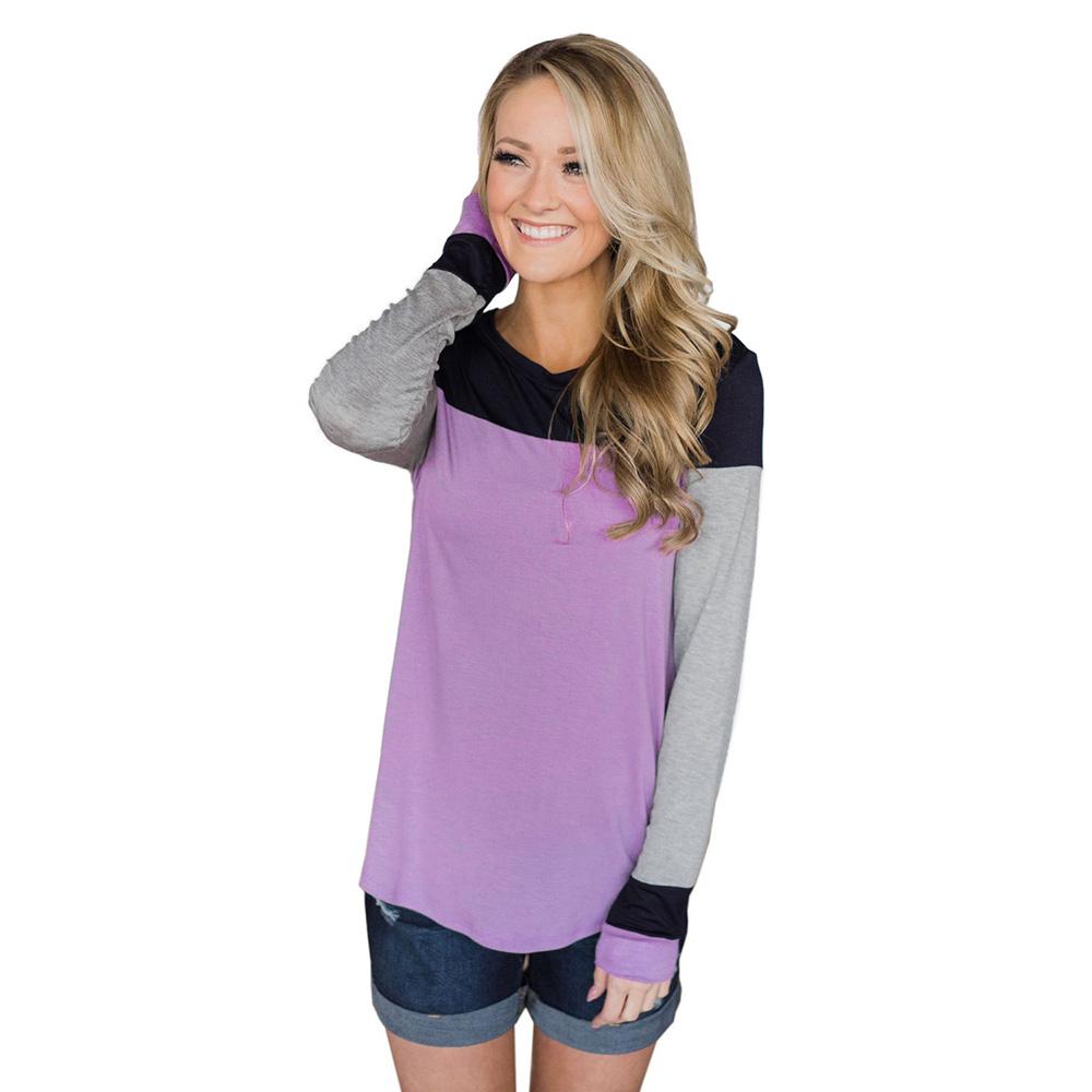 Autumn Winter T Shirt O Neck Long Sleeve Patchwork Soft Slim Shirts Torch Tshirt Women Pink Fuchsia L 3 Simple And Classic
