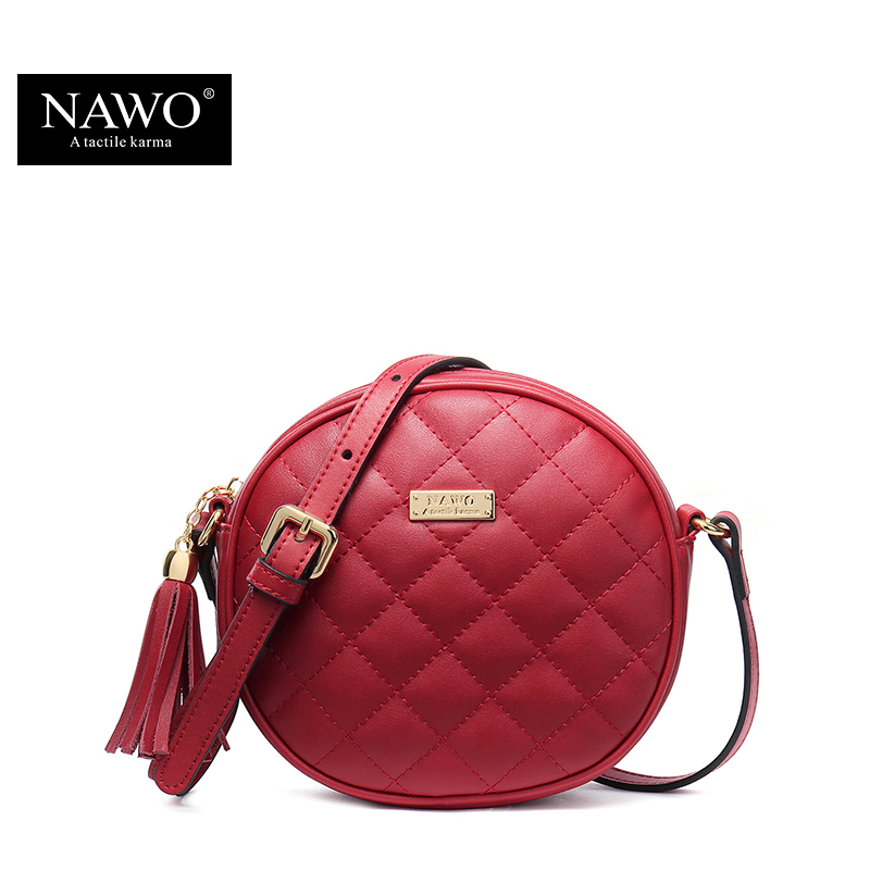 NAWO Plaid Women Messenger Bags Brand Famous Diamond Lattice Round Crossbody Bag Tassel Vintage Designer Mini Bags High Quality(China (Mainland))