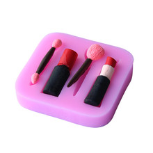 Creative silicone fashion lipstick makeup tools fondant cake mold chocolate candy decorated soap pan roasted Kitchen Accessories