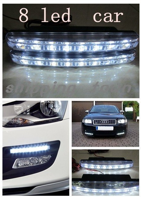 12V 8 LED Universal Car Light DRL Daytime Running Head Lamp Super White WITH RETAIL BOX#A0002  -  Love Home store