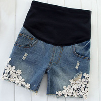 free ship summer blue lace maternity jeans shorts pregnant clothes 5 pants abdominal shorts belly pants