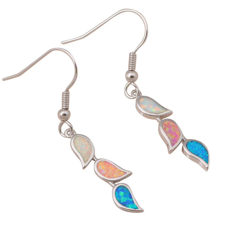 2.86g Leaves Color Fire Opal Silver Stamped Drop Earrings Fashion Jewelry OE289 - TaoLiHao Ltd. store