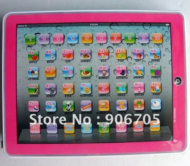 Free shipping,Y-Pad English  Learning Machine,Y PAD Learning Toys For Kids,Pink and Blue Mixed,Music and Led Light,24PCS/Lot