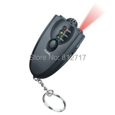Free shipping! 10pcs/lot 3 LED Keychain breath alcohol tester with orange torch(China (Mainland))