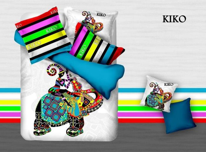 3D Colorful elephant striped Kids cartoon bedding comforter bedroom set children queen size bedspread bed in a bag sheets quilt(China (Mainland))
