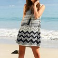 2016 Fashion Summr Dress Women Sexy Mini Dress Ladies Sleeveless Hollow Out Lace Crochet Patchwork Beach