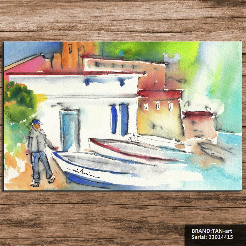 Imperia In Italy Painting by Landscape Abstract Spray Unframed Canvas Frameless 23014415(China (Mainland))