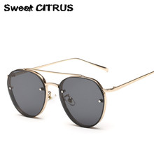 Brand Designer Round Sunglasses Women Trend Fashion Style High Quality Metal Vintage unique PC Mirror Sun Glasses Men 2016 UV400