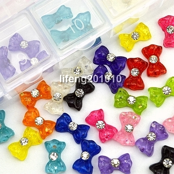 Buy 60pcs 3d resin bow rhinestone for for Acrylic nail decoration supplies