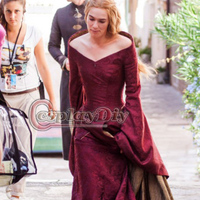 Custom Made Game of Thrones Cersei Lannister Dress Costume Red Medieval Costumes For Adult Women  Halloween Cosplay Costume