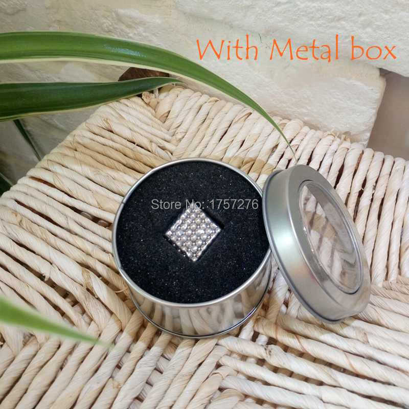Funny Neo cube Magic cube 216 pcs Diameter 3mm nickel cube neodymium Toy Puzzle Cube Toy Sphere Balls DIY toys with Metal box(China (Mainland))