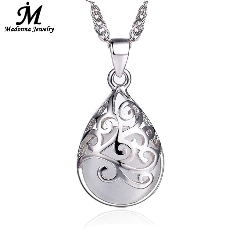 New Fashion Silver Plated Pendant Pink And White Moonstone Stone Opal Pendant Hollow Design Love Trevi Fountain Women Jewelry(China (Mainland))