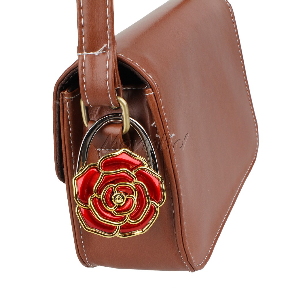 Rose Fold Bag Handbag Purse Alloy Crystal Hook Hanger Holder Color Random r(China (Mainland))