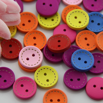 Free Shipping 200PCS Mixed seven color circle button beautiful child baby button 15MM(24L23X07)wood button Craft sewing(China (Mainland))