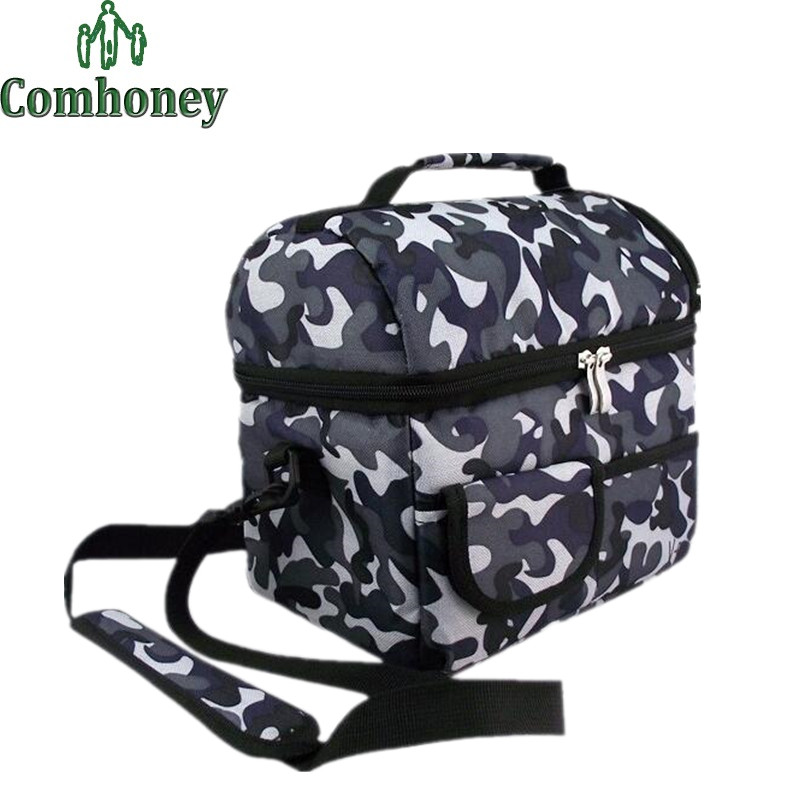 Camouflage Picnic Bag for Lunch Thermal and Cooler Bag for Food Storage Aluminum Foil Folding Insulation Lunch Bag for Kids