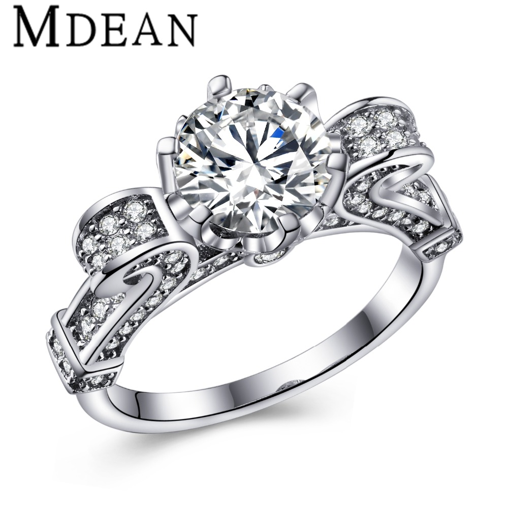 buy mdean wedding engagement women rings white gold plated rings for women. Black Bedroom Furniture Sets. Home Design Ideas