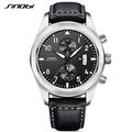 SINOBI Mens Military Chronograph Wrist Watches Luxury Brand Date Leather Clock Male Sports Shock Geneva Quartz