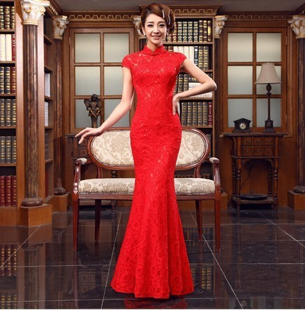 Free shipping Married red long section of lace collar dress Chinese improved cheongsam bride toast clothing new