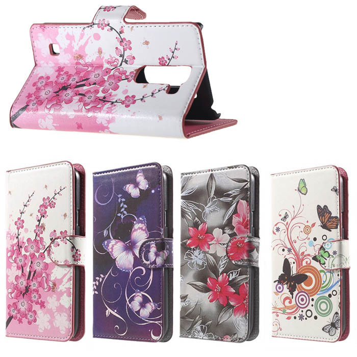 Pink Plum Magnetic Leather Wallet Handbag Book Cover Case For Flip LG Spirit 4G LTE H440y H440N C70 freeshiping CELL phone CASES(China (Mainland))