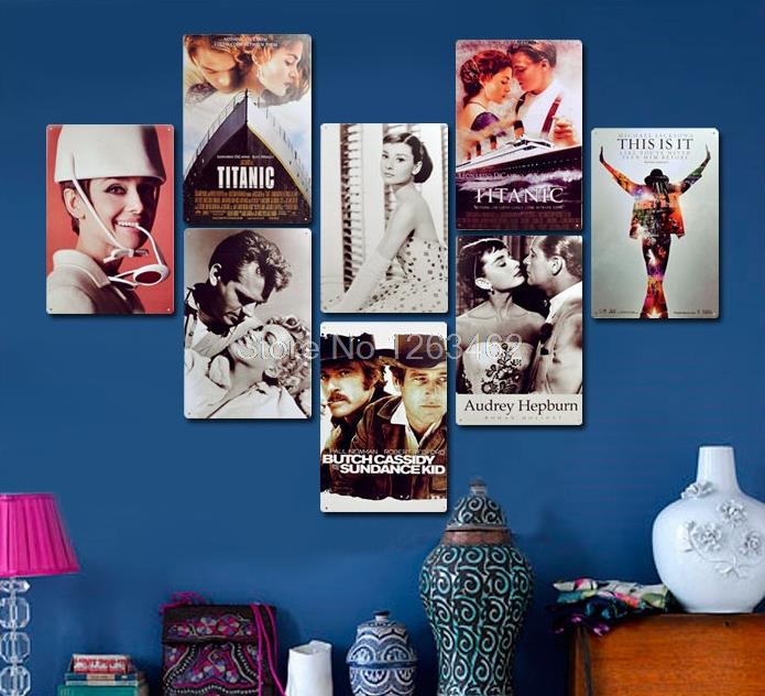 Famous movie star moive poster Vintage metal Tin Sign Bar Sofa Home Retro Metal paintings wall decoration 20*30 CM Free shipping(China (Mainland))