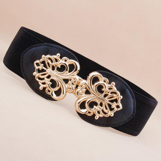 Casual Dress new Fashion Cutout Buckle Cummerbund Tie belts Women Elastic Waist Belt Wide Female - ABC Mall store