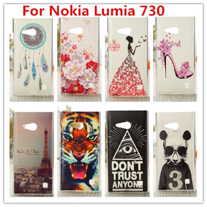 For Nokia Lumia 730 Case/Luxury Crystal Diamond 3D Bling Hard Plastic Cover Case For Nokia Lumia 730 735 dual sim Phone Case(China (Mainland))