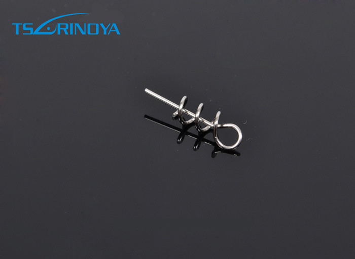 Trulinoya Fishing Lures Soft Pin To Fixed Latch Needle Soft Worms Fishing Bait With Spring Silver