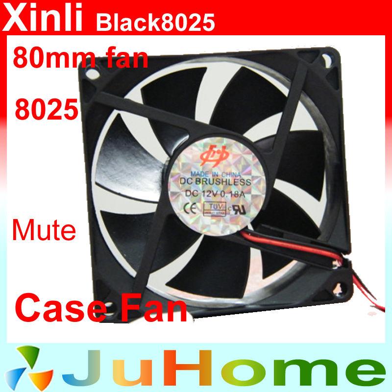 , 80mm, 8cm fan, 8025 super mute, power supply, computer Case cooler, XinLi Black8025 - CloudFan Store store