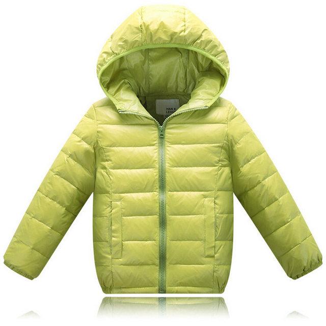Супер Теплые Детские Outerwears Пуховик Разноцветные Тонкий слой 80% заполните Белая Утка Вниз для Девочек и мальчики