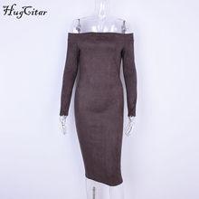 Hugcitar זמש ארוך שרוול כבוי כתף נשים midi bodycon שמלת 2019 סתיו החורף נקבה סקסי חם מסיבת בגדים(China)