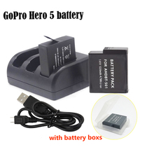 New 2x GoPro hero 5 battery 1220mAh bateria hero5 Gopro5 battery +3-slot charger for GoPro Go Pro Hero5 HERO 5 Camera AHDBT-501(China (Mainland))