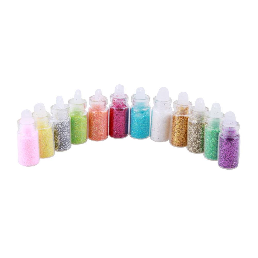 1Set, 12 Color Maquiagem Nail Glitter Powder Decor Nail Art Powder Dust Bottle Set #5696(China (Mainland))