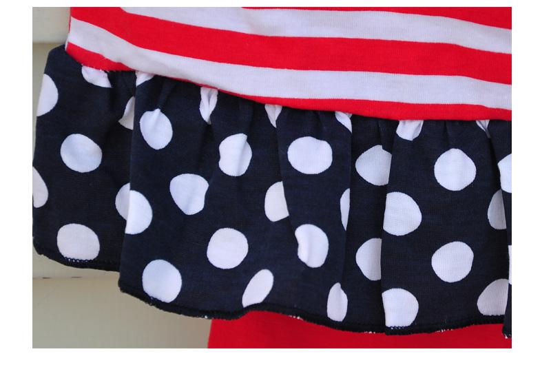 Скидки на Оптовые Девушки Бутик Одежда Набор Dot Красный Полосатый Лоскутная Красный Капри Девочка Одежда 2016 DX001