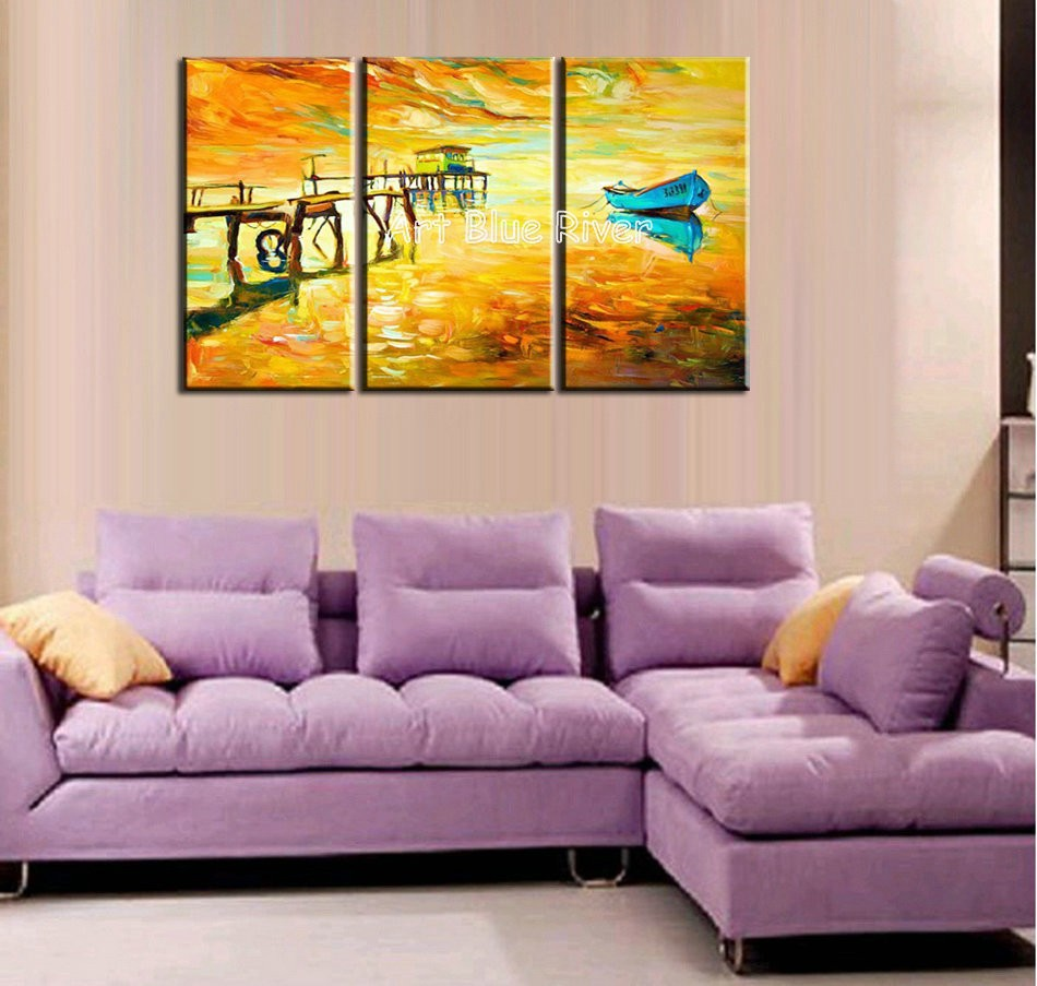 Buy 3 piece modern canvas wall art handmade picture boat sea knife paint oil painting canvas for decoration bedroom living room cheap