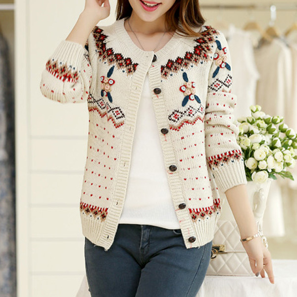Womens Sweaters Fashion 2014 Autumn Cardigan Long Sleeve Wool Knitted Jacquard Floral Casual Women Cardigans WZM636 - Lovely Boutique. store
