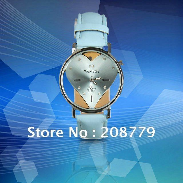free hipping 2011 new on the market Stylish Quartz Alloy Heart Shape Dial Leather Band Women Wrist Watch