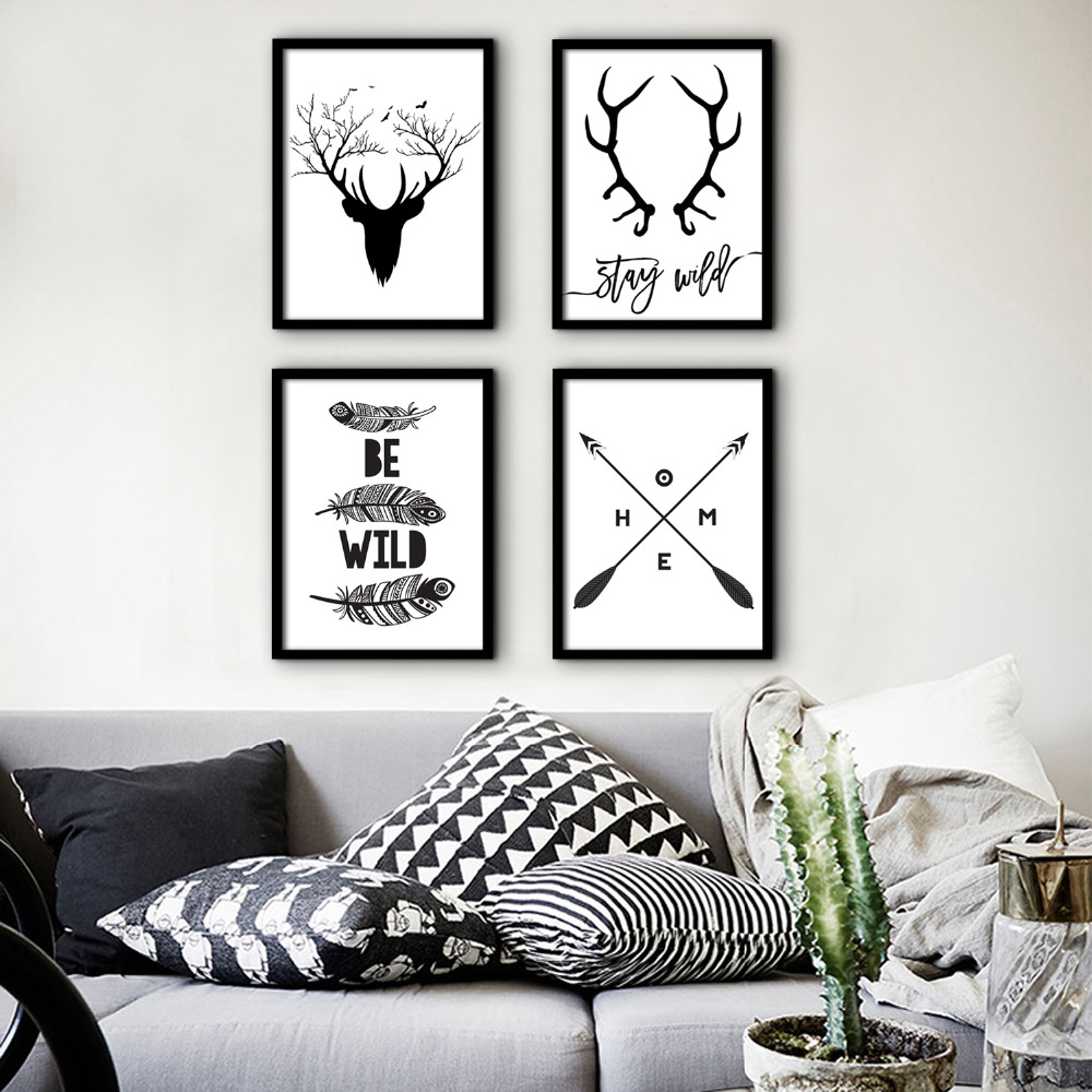 Free Shipping Framed Canvas Painting Art Deer Letter Pattern Theme Series Painting Canvas Print Wall Art