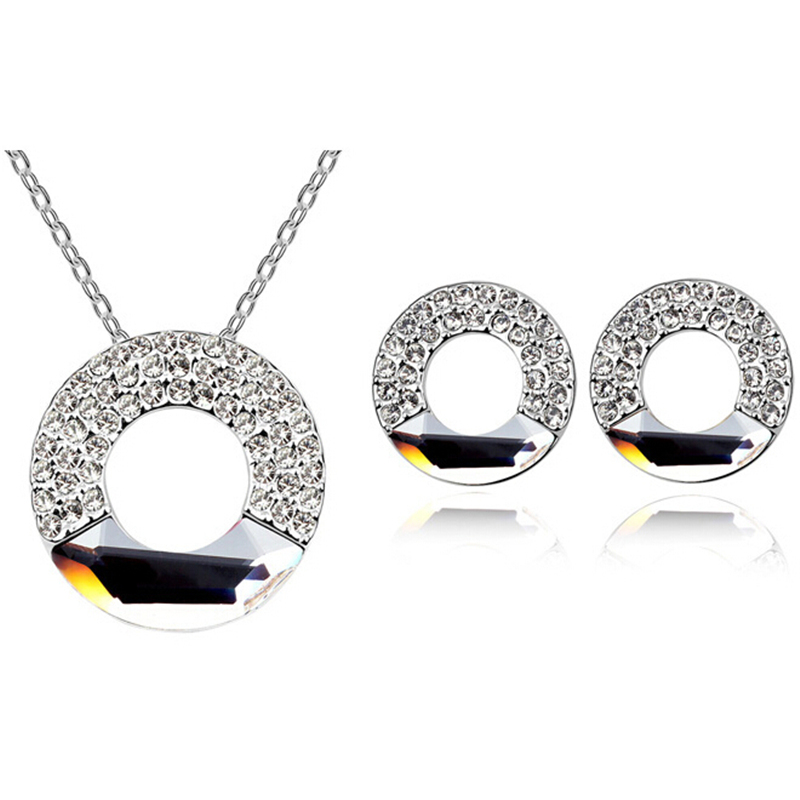 Austrian Crystal Jewelry Sets 18k White Gold Plated  Anti Allergic Lasting Shine (5- colors)