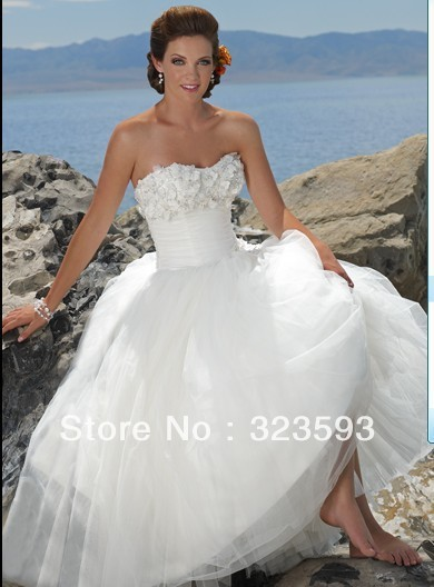 Free Shipping Summer Beaded Flowers Scoop Tulle Beach Wedding Dresses 2013 Pr