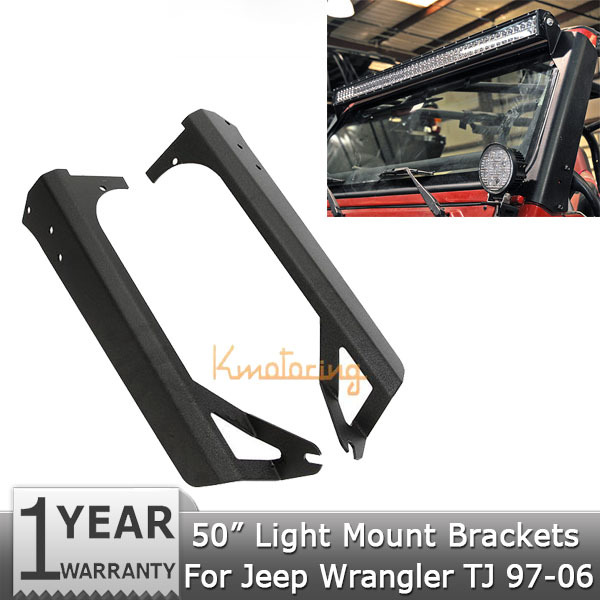 Фотография A pair of Windshield Mounting Brackets 50 inch Light Bar Mounts For Jeep Wrangler TJ 1997-2006