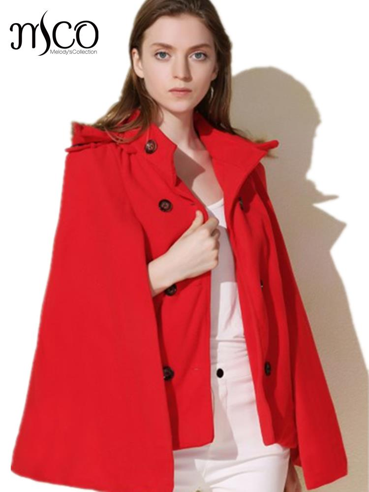 New European Faux Fur Trim Hooded Mini Cape Coat Vintage Winter Warm Poncho Short Trench Coat Women Cloak Jacket High Quality(China (Mainland))