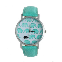 Fashion&Casual Women's Watch Elephant Printed Faux Leather Analog Quartz Dial Clock Ladies relogio feminino - Wavors Store store