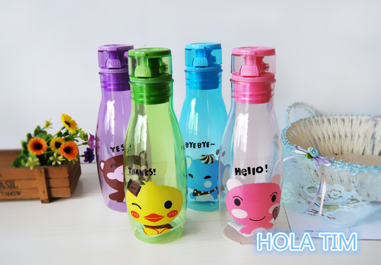 400ml Portable Ring Dust Cap Water Bottle 4 Color Plastic Cheap Sport Shatter proof Soda Space Cup Leak-proof Water Kettle(China (Mainland))