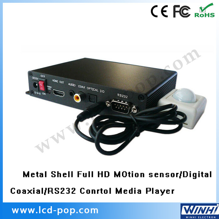 Metal shell shopping USB SD multimedia Motion sensor Digital Coaxial Optical HDMI port RS232 Control 1080p full hd media player(China (Mainland))