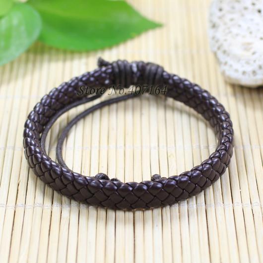 SF153-Chocolate Genuine Leather Bracelet Braided Rope Fashion Jewelry Bracelete Men&Women Pulseira Masculina Feminina - SunFlower Trade Co.,Ltd store