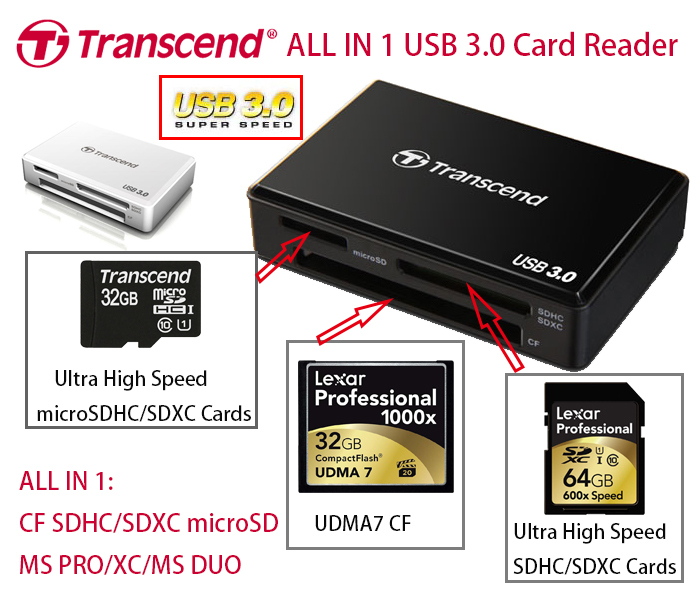 Brand New 2014 Transcend RDF8 SuperSpeed USB 3.0 Card Reader All in 1 UHS UDMA7 CF Card Reader SDHC SDXC SD microSD Card Reader<br><br>Aliexpress